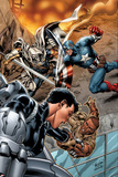 Battle Scars No.2 Cover: Johnson, Daisy, Captain America, and Task Master in a Fight Prints by Carlo Pagulayan