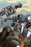 Iron Man 2.0 No.8 Cover: War Machine Fighting and Flying Posters by Salvador Larroca