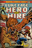 Marvel Comics Retro: Luke Cage, Hero for Hire Comic Book Cover No.13, Fighting Lion-fang (aged) Print