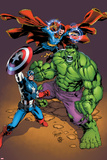 Marvel Adventures Super Heroes No.21 Cover: Captain America, Hulk, and Dr. Strange Posing Posters by Carlo Pagulayan