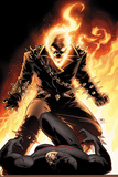 Shadowland No.5 Cover: Ghost Rider and Daredevil Fighting Print by John Cassaday