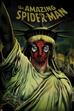 The Amazing Spider-Man No.666 Cover: Spider-Man Painted on the Statue of Liberty Affiche par Mike Del Mundo