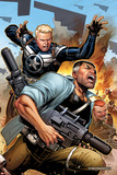 Secret Warriors No.19 Cover: Steve Rogers and Nick Fury Fighting and Running Posters by Jim Cheung
