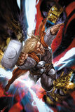 Astonishing Thor No.3: Thor Flying with Mjonir Print by Mike Choi