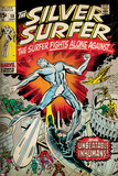 Marvel Comics Retro: Silver Surfer Comic Book Cover No.18, Against the Unbeatable Inhumans! (aged) Prints