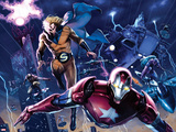 New Avengers Annual No.1: Iron Patriot, Sentry, Wolverine, and Hawkeye Flying Poster par Gabriele DellOtto