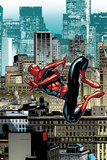 The Amazing Spider-Man No.666: Spider-Man Swinging Through City Buildings Posters by Stefano Caselli