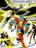Marvel Comics Retro: X-Men Comic Panel, Colossus, Storm, Charging and Flying Photo