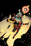 Declan Shalvey - Deadpool #15 Cover: Deadpool, Wolverine, Captain America Plakát