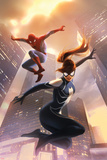 Spider-Girl No.8 Cover: Spider-Girl and Spider-Man Jumping Posters by Jelena Djurdjevic