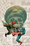 Captain America: The 1940s Newspaper Strip No.3 Cover: Red Skull Fighting Captain America Plakaty autor Butch Guice