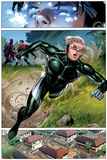 Avengers: The Childrens Crusade No.2: Panels with Speed Running Posters by Jim Cheung