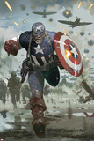 Captain America No.615 Cover: Captain America Running with his Shield Posters af Daniel Acuna