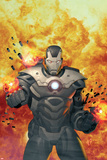 Iron Man 2.0 No.7 Cover: War Machine Standing and Flaming Prints by Salvador Larroca
