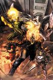 Heroes For Hire No.1 Cover: Ghost Rider, Elektra, Punisher, Iron Fist, and Moon Knight Charging Plakater av Doug Braithwaite