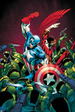 Captain America No.10 Cover; Captain America and Falcon Fighting Others Poster by Alan Davis