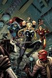Fear Itself: The Fearless No.6 Cover: Valkyrie, Iron Man, Captain America, Sin, and Crossbones Prints by Arthur Adams