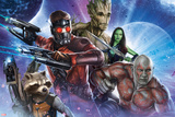 Guardians of the Galaxy - Star-Lord, Drax, Groot, Gamora, Rocket Raccoon Print