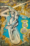 Marvel Comics Retro: Silver Surfer Comic Panel, Over the City (aged) Prints