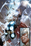 The Mighty Thor No.10: Panels with Thor and Mjolnir Print by Pepe Larraz
