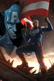 Captain America No.617 Cover: Steve Rogers Standing with a Flag and Gun Affiches par Marko Djurdjevic