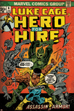 Marvel Comics Retro: Luke Cage, Hero for Hire Comic Book Cover No.6, Assassin in Armor! (aged) Posters