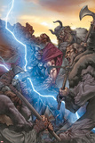 Thor: The Rage of Thor No.1 Cover: Thor Fighting and Screaming, and Lightning Posters by Mico Suayan