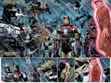 Avengers No.9: Panels with Steve Rogers, Thor, Wolverine, Iron Man, Mr. Fantastic and Others Print by John Romita Jr.