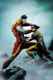 Wolverine No.4 Cover: Wolverine and Colossus Fighting Prints by Jae Lee