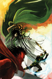Journey Into Mystery No.624 Cover: Loki, Hela, and Mephisto Fighting Print by Stephanie Hans