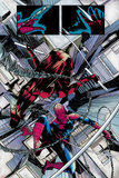 The Amazing Spider-Man No.677: Daredevil and Spider-Man Fighting and Falling Print by Emma Rios