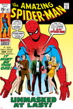 Amazing Spider-Man No.87 Cover: Spider-Man, Mary Jane, Gwen, Harry Osborn, and Peter Parker Posing Photo