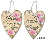 Hearts And Roses Two-Sided Welcome Plaque Wood Sign