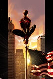Ultimate Comics Spider-Man No.7 Cover: Spider-Man Sitting on Top of a Flag Pole in the City Poster by Kaare Andrews