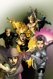 X-Men Legacy No.246 Cover: Dust, Karma, Magma, Cypher, Moonstar, and Sunspot Prints by Leinil Francis Yu