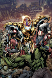 Age of Ultron 1 Cover: Ultron, Captain America, Hulk, Iron Man, Thing, Iron Fist, Spider-Man Prints by Bryan Hitch