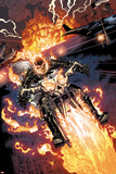 Heroes For Hire No.2: Ghost Rider Riding Motorcycle Print by Brad Walker