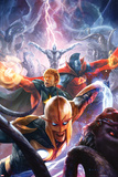 The Thanos Imperative No.5 Cover: Nova, Quasar, Gladiator, and Silver Surfer Flying Prints by Aleksi Briclot
