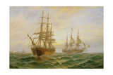 Two Ships Passing at Sunset Giclee Print by Claude T. Stanfield Moore