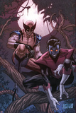 Wolverine Weapon X No.16 Cover: Nightcrawler and Wolverine Crouching in a Tree at Night Plakaty autor Ron Garney