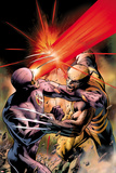 X-Men: Schism No.4 Cover: Cyclops Fighting Wolverine with an Optic Blast Affiches par Alan Davis