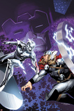 The Mighty Thor No.4 Cover: Silver Surfer and Thor Fighting Photo by Olivier Coipel