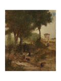 Sketch for Washing Day Near Perugia, 1873 Giclee Print by George Snr. Inness