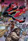 Avengers No.5: Spider-Man and Spider Woman Swinging Prints by John Romita Jr.