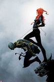 Widowmaker No.2 Cover: Black Widow Holding Another By a Rope Poster by Jae Lee