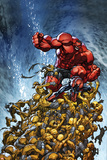 Avenging Spider-Man No.2 Cover: Spider-Man and Red Hulk Fighting Moloids Foto von Joe Madureira