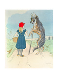 Illustration for 'Little Red Riding Hood' by Charles Perrault (1628-1703) Giclee Print by A. Vimar