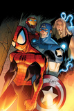 Ultimate Spider-Man No.151 Cover: Spider-Man, Captain America, Thor, and Iron Man Standing Posters by David LaFuente