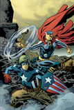 Free Comic Book Day 2011 (Thor The Mighty Avenger) No.1 Cover: Captain America and Thor Prints by Chris Samnee