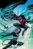 Ultimate Spider-Man No.154 Cover: Black Cat, Spider-Man, and Mysterio Fighting and Jumping Prints by Sara Pichelli